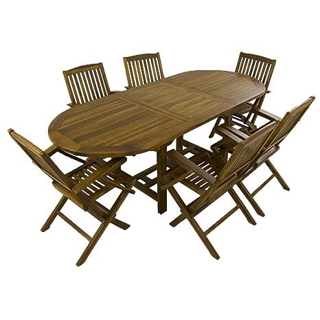 Conjunto para jardín de Madera Teca, Mesa Ovalada Extensible 160/210 cm y 6 sillones Plegables, Madera Teca Grado A, Tratamiento al Agua aplicado