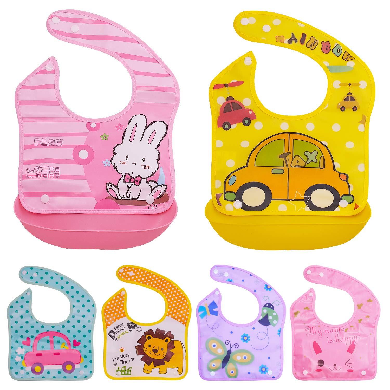 Baby Bibs with Soft Plastic Food Catcher - Set of 6 Bibs and 2 Trays - Waterproof, Reusable and Washable - Drool and Feeding Bib for Babies, Toddlers, Infants, Newborns - Set 6