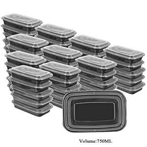 50 SZUAH Meal Prep Containers - Bento Lunch Boxes with Lids - Single 1 Compartment Food Containers, BPA Free, Stackable & Reusable, Dishwasher/Microwave/Freezer Safe - 28 oz… …