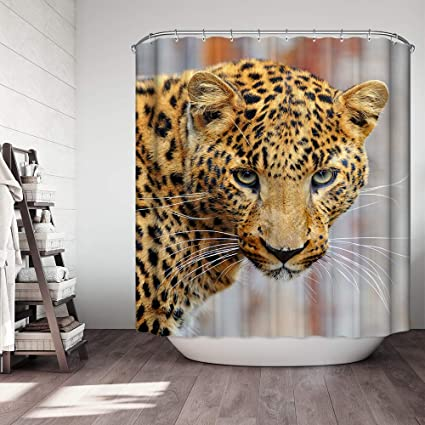 Ezlif 3D Print Leopard Shower Curtain Big Cat Animal Theme 70 X