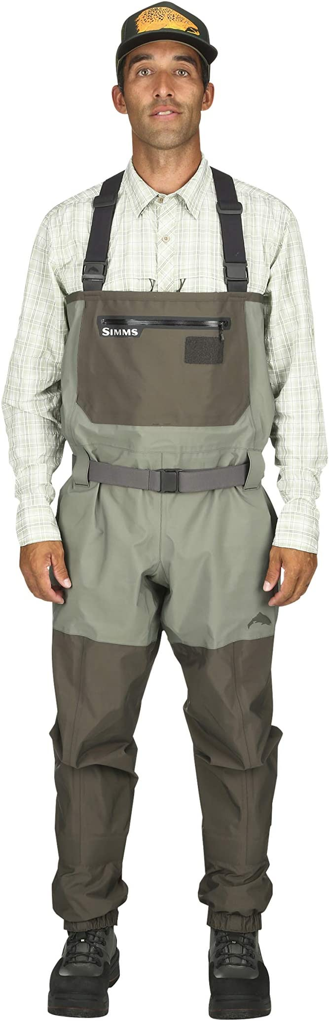 Breathable Fishing Stocking Foot Waders Simms Freestone Stockingfoot Waders for Men 4 Layer Waterproof Chest Waders with Gravel Guards Fleece Lined Pockets /& Fly Patch
