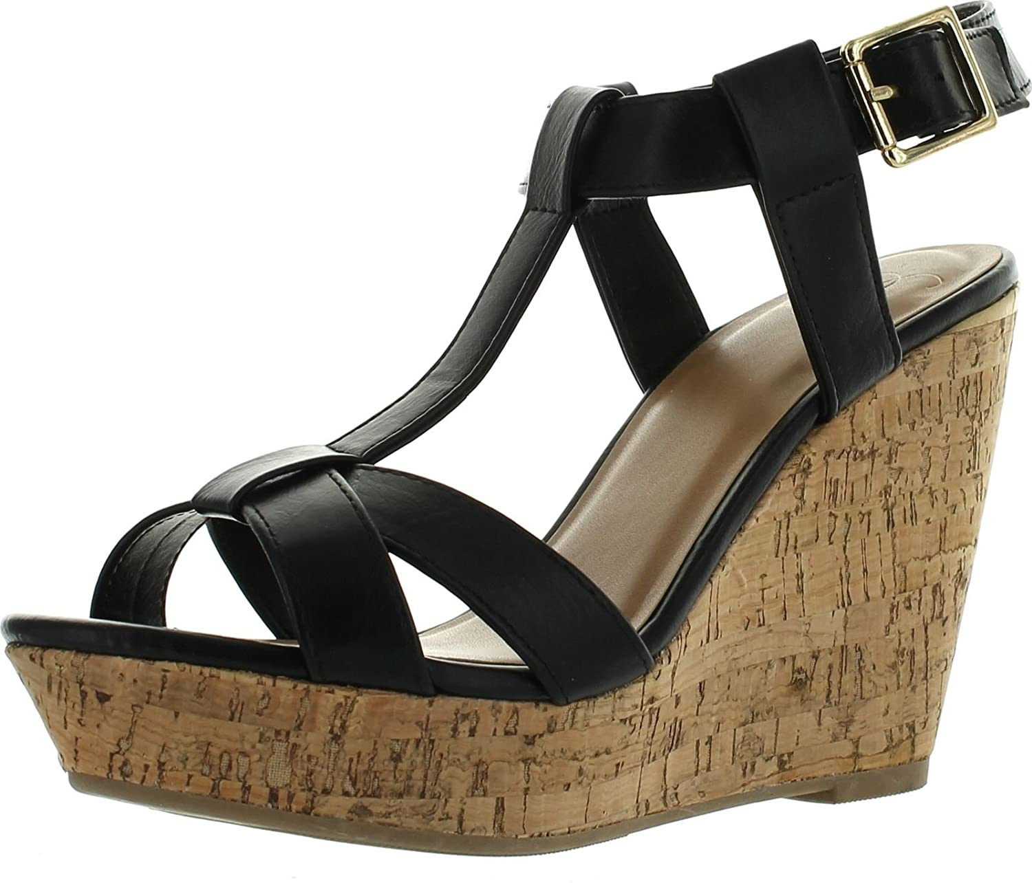 Delicious Womens Johanna T-Strap Cork Platform Wedge Sandals B00W29TV98 10 B(M) US|Black