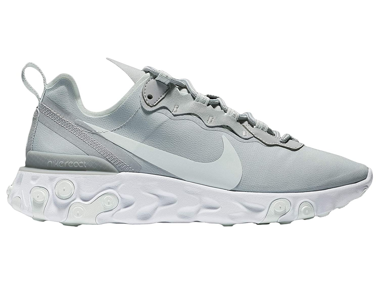 Nike Women's React Element 55 Running Shoes (9, Wolf GreyGhost AquaWhite)