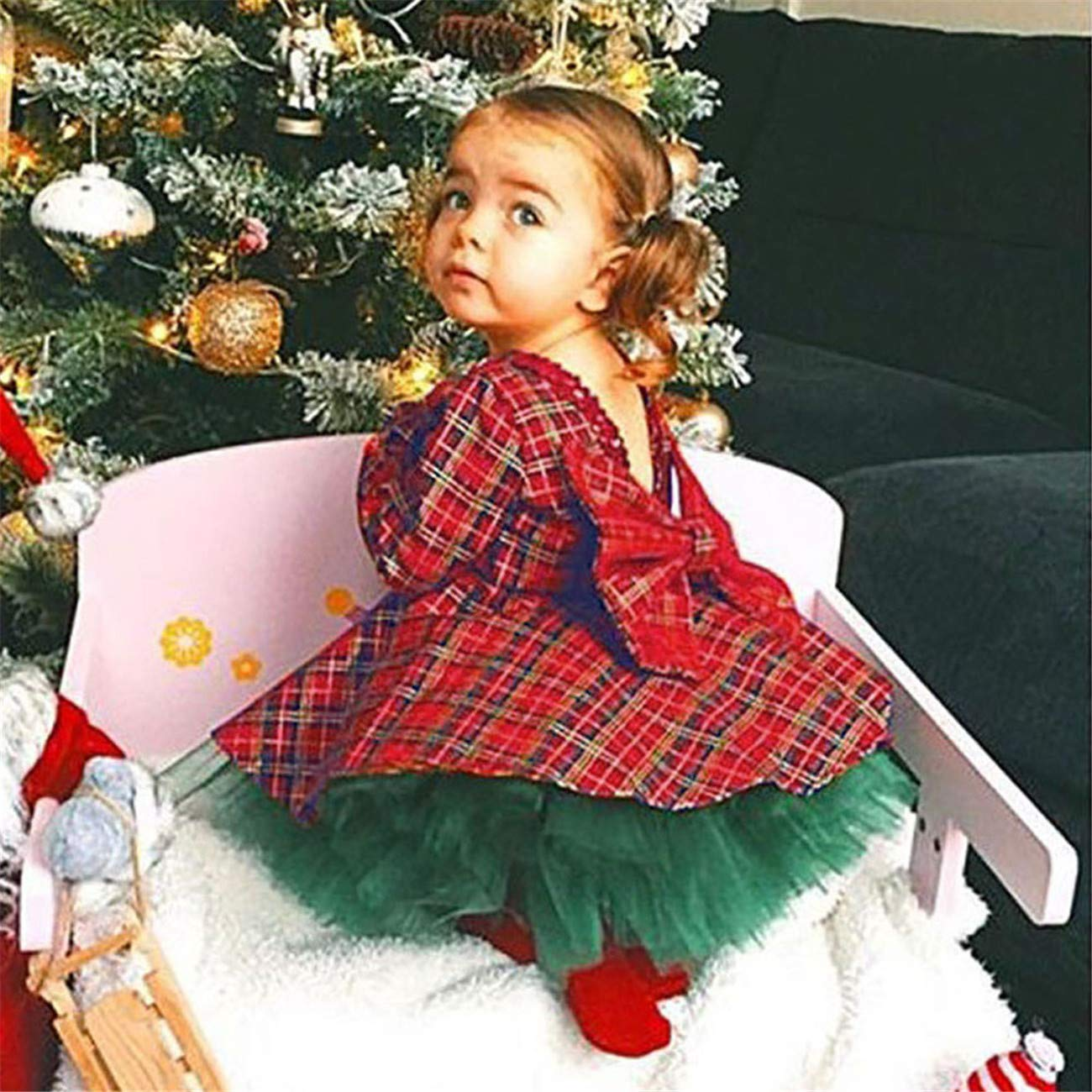 HCFKJ Ropa Bebe NiñA Invierno NiñO Manga Larga Camisetas Beb Conjuntos Moda Infantil Baby NiñA Princesa Arco Plaid Vestido Tapas Tutu Tul Faldas 2pcs: ...