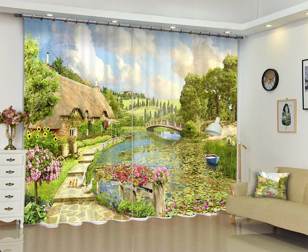夏国ファームハウス風景家の装飾ウィンドウカーテンby LB、素朴な田舎川ガーデン風景カーテン、リビングルーム、2の装飾カーテンドレープパネルセット、グリーン 60