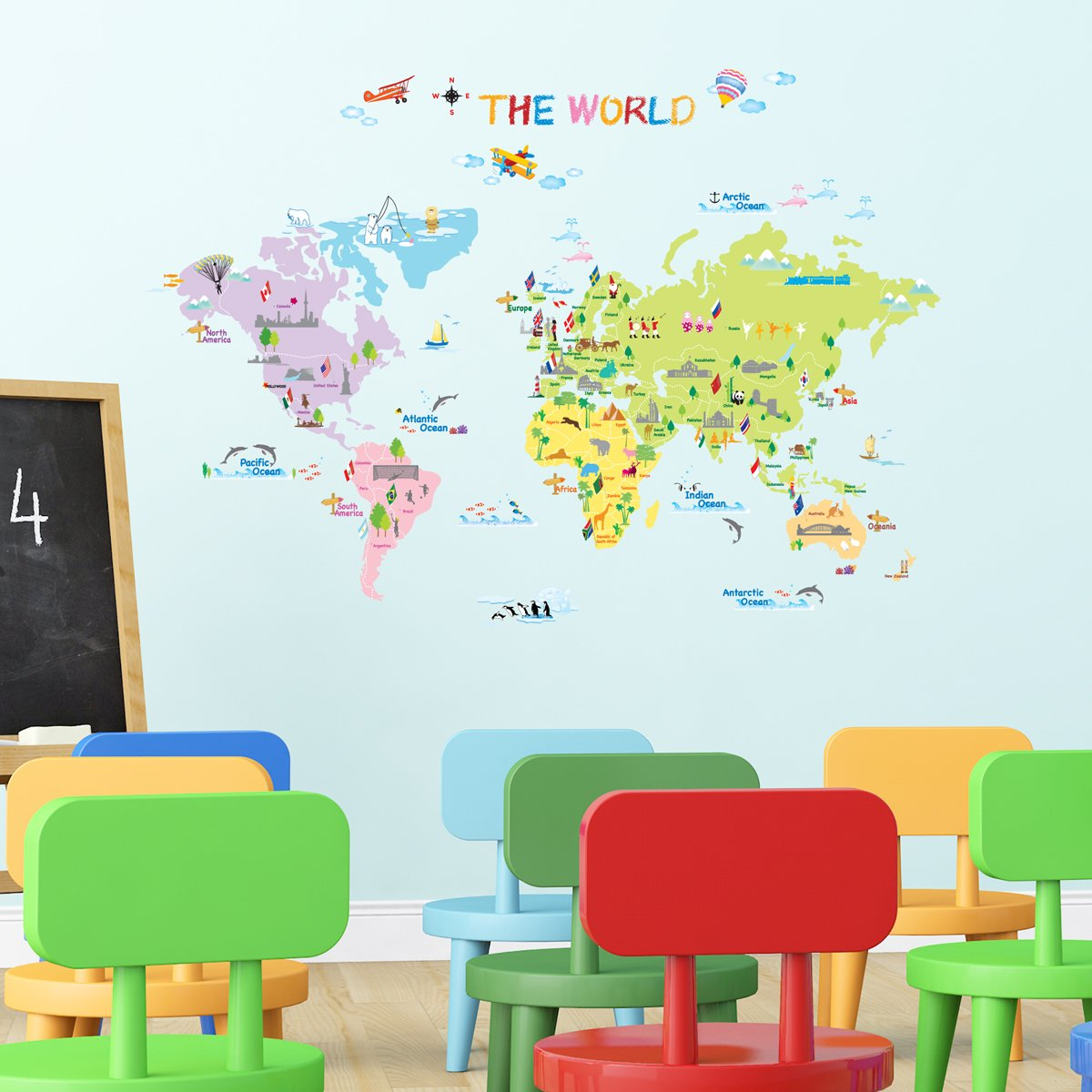 decowall dw 1203 multicoloured world map kids wall stickers wall decowall dw 1203 multicoloured world map kids wall stickers wall decals peel and stick removable wall stickers for kids nursery bedroom living room