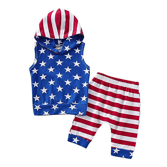 b202cf9e5 4th of July Baby Boys Outfits American Flag Hoodie Top + Stars and Stripes  Pants Independence