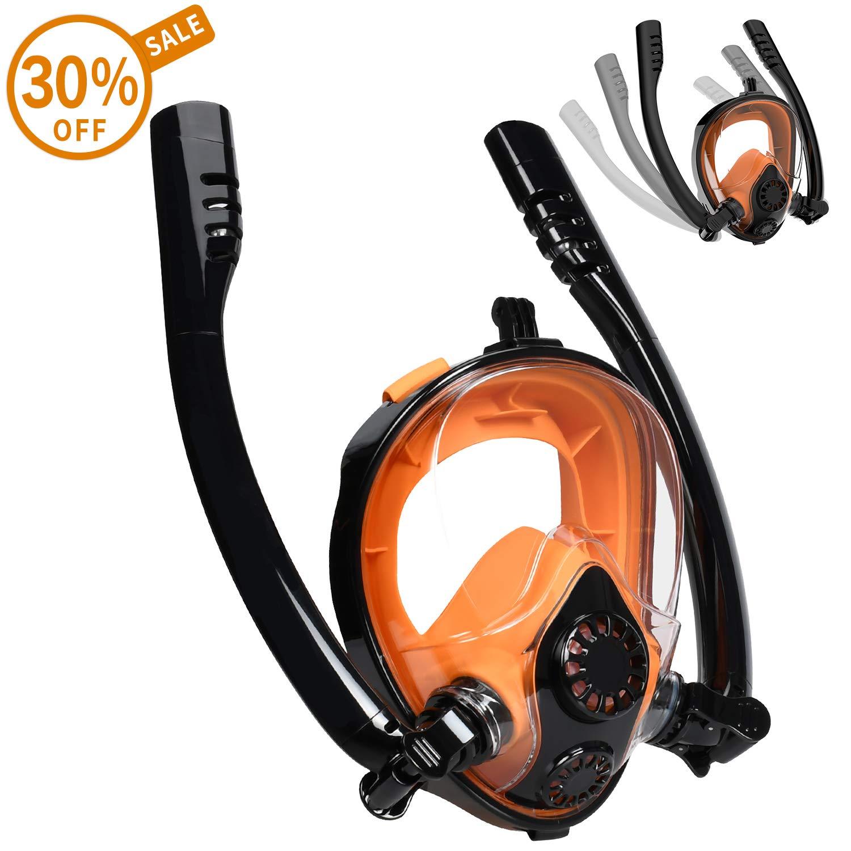 Cevapro Snorkel Mask, Safe K2 Breathing System Full Face Snorkeling Mask for Natural Breath & Safe Snorkeling Anti Leak Anti Fog Diving Mask Dry Snorkel Set for Kids Adult