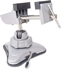 Hi-Spec Hobby Mini Vise with 360° Swiveling Head and Powerful Suction Mounting Mechanism and Soft Jaws for Craft, Model Building, Electronics, Jewelry Making and Metal Work Multi-Angle Table Vise