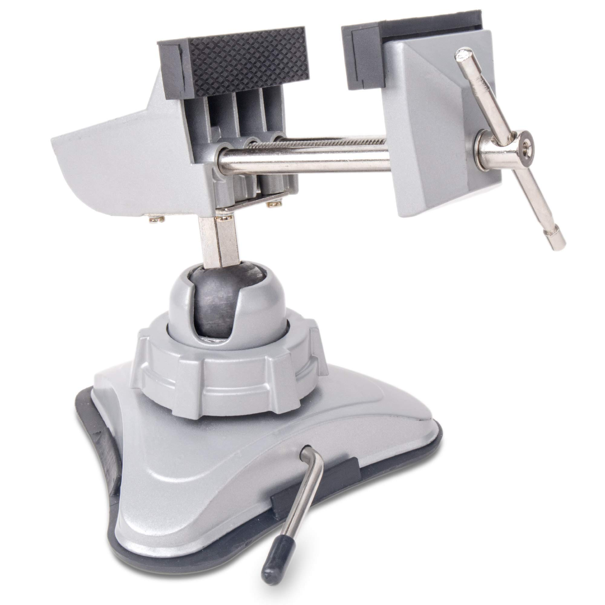 Hi-Spec Hobby Mini Vise with 360° Swiveling Head and Powerful Suction Mounting Mechanism and Soft Jaws for Craft, Model Building, Electronics, Jewelry Making and Metal Work Multi-Angle Table Vise by Hi-Spec