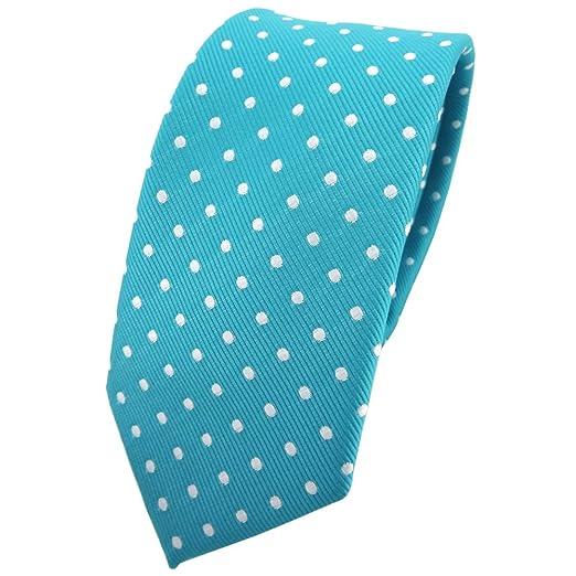 TigerTie - corbata estrecha - turquesa azul turquesa plata lunares ...