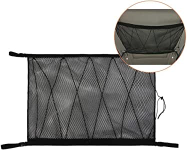 Roccar Ceiling Cargo Net Pocket, Car Roof Long Trip Storage Bag with Zipper, Adjustable Automotive Sundries Storage Pouch,Tent Putting Quilt Children's Toy Towel Sundries Interior Accessories,Black