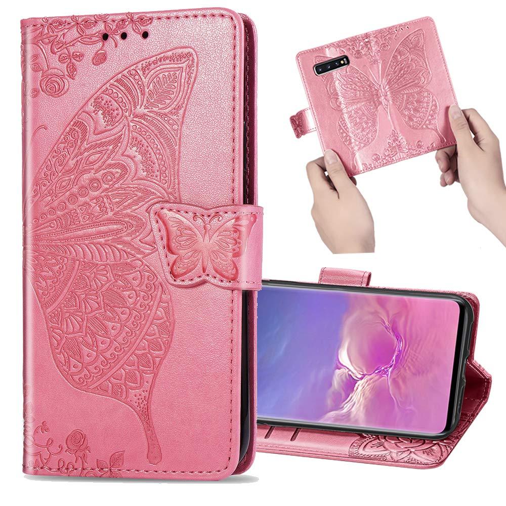 Nadoli Leder Hülle für Galaxy S8 Plus,Retro Schmetterling Blumen Muster Kunstleder Trageschlaufe Ständer Flip Brieftasche Handyhülle Schutzhülle für Samsung Galaxy S8 Plus,Lila