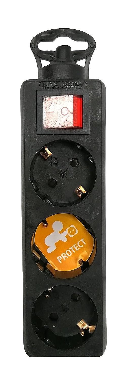 Base m/últiple sin cable de 3 tomas Schuko color Blanco Garza Power