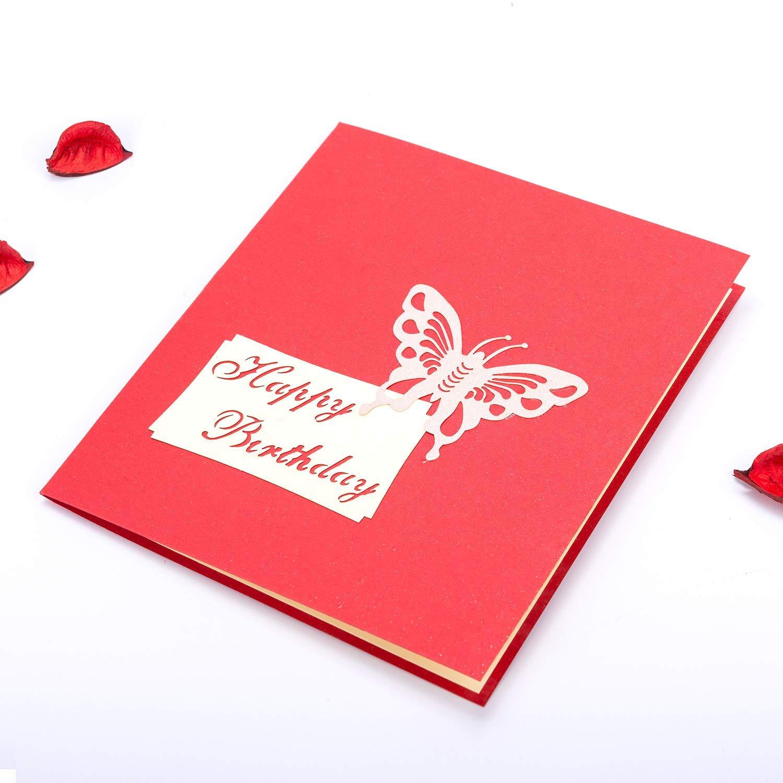 Yongbest Carte-Cadeau 3D Pop-up,Carte de Voeux pour Anniversaire denveloppe Paper Carte de V/œux pour La Famille Enfants Amis Amoureux de La Saint-Valentin Joyeux Anniversaire