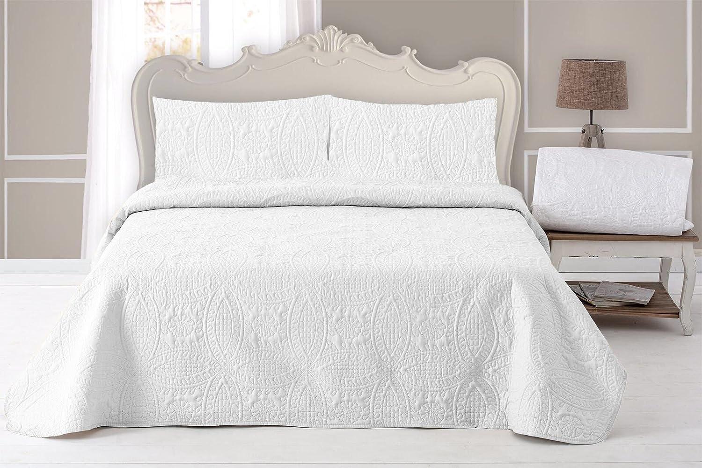 ForenTex - Colcha Boutí, (MQ-Blanca), Reversible, color Blanco por los dos lados, cama 105 cm, 200 x 260 cm, +1 funda cojín 40 x 60 cm, 220 gr/m2 ...