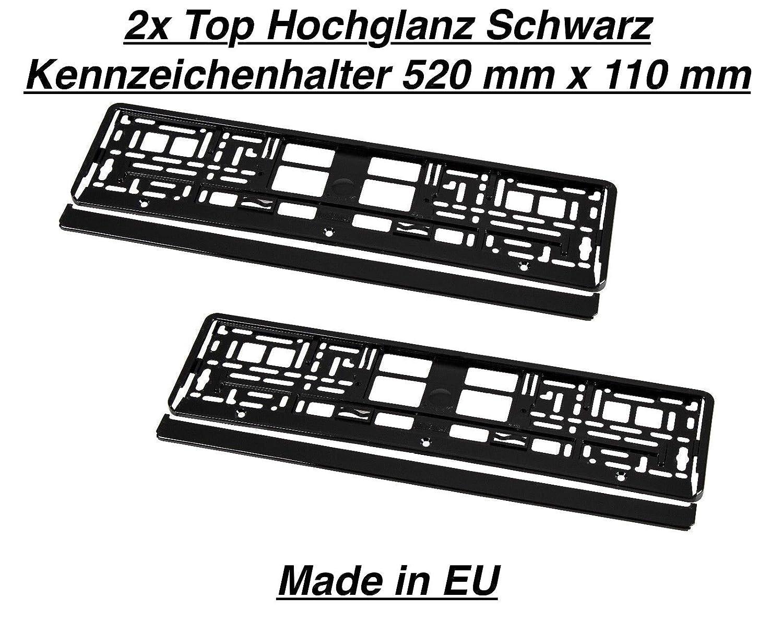 2x Hochglanz Schwarz Kennzeichenhalter Nummernschildhalter Made in EU  Mercedes