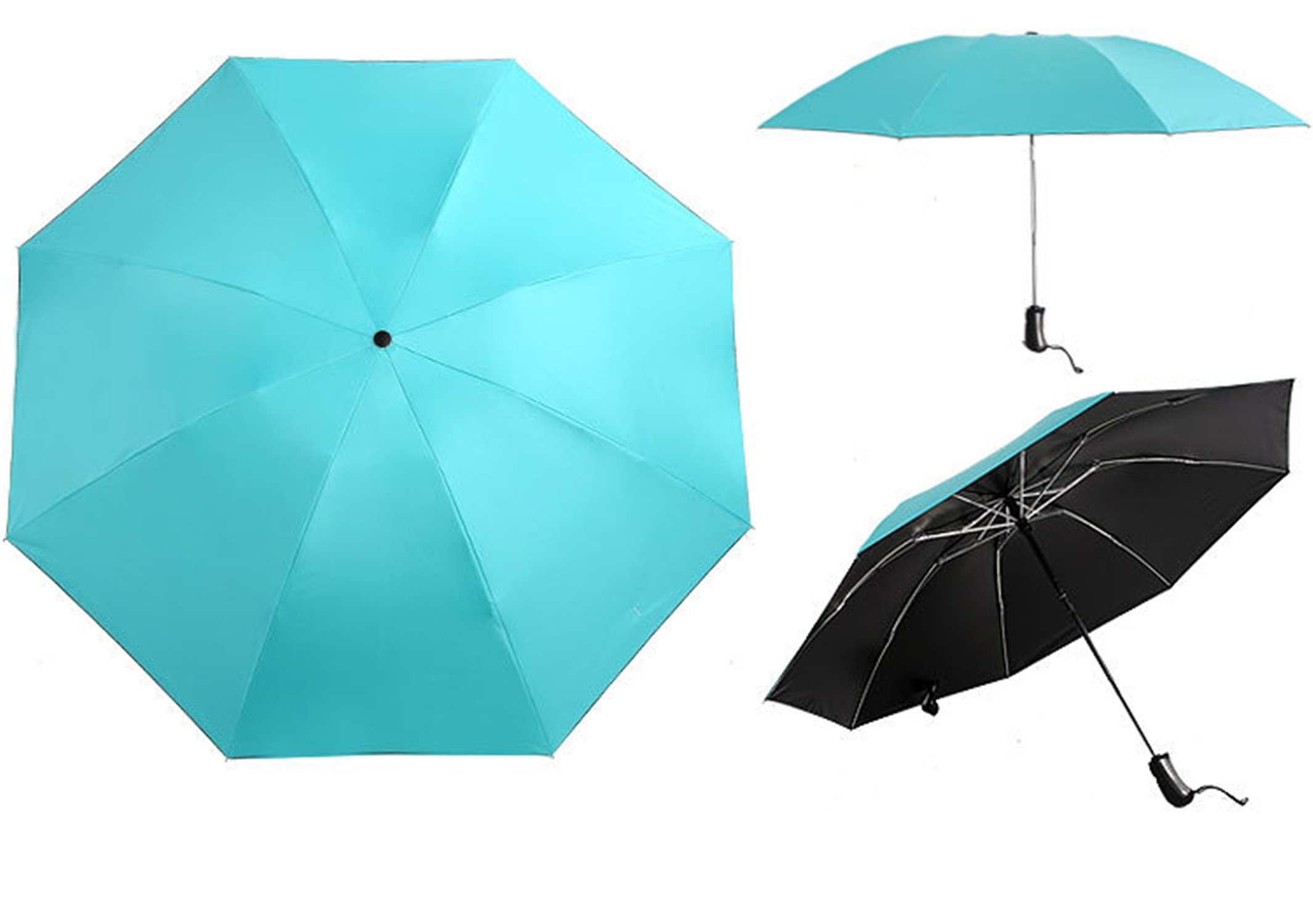 QIANNVSHEN Stripe UV Protection Inverted Folding Umbrella Windproof Auto Open & Close Parasol Sky Blue by QIANNVSHEN