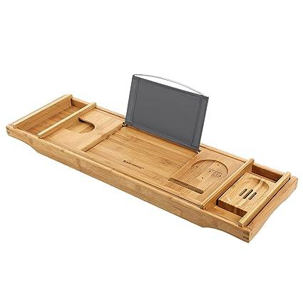 Amazon.com: SONGMICS Extendable Bathtub Tray Caddy Bamboo Wood ...