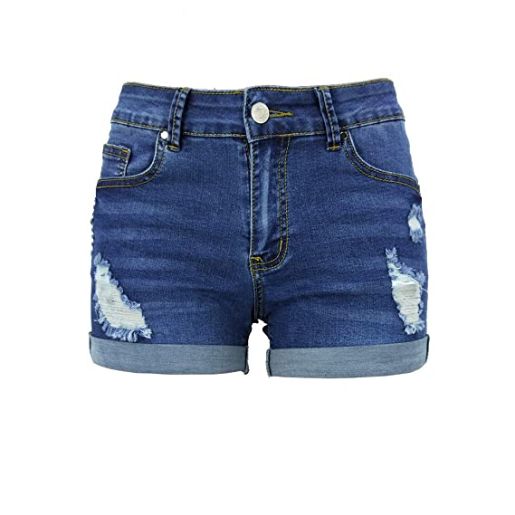 Elonglin Womens Denim Curled Shorts Ripped Sexy Jeans ...