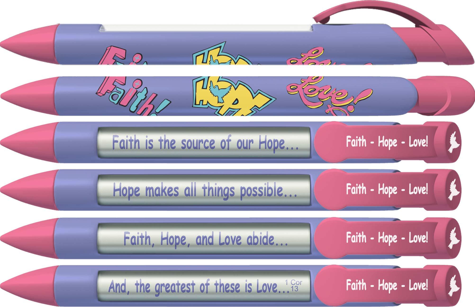 6 x Greeting Pen Faith, Hope, Love Scripture Pens, Scripture
