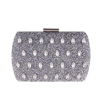 ZLULU Bolso de mano Carteras de mano clutches Bolso De Noche con Diamantes De Imitación Bolso