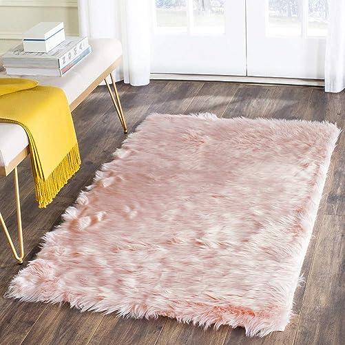 Dikoaina Thick Faux Sheepskin Area Rug Rectangle Sheepskin Area Rug Plush Premium Shag Faux Fur Shag Runner 3×5 feet 3 x 5 ft rec, Pink