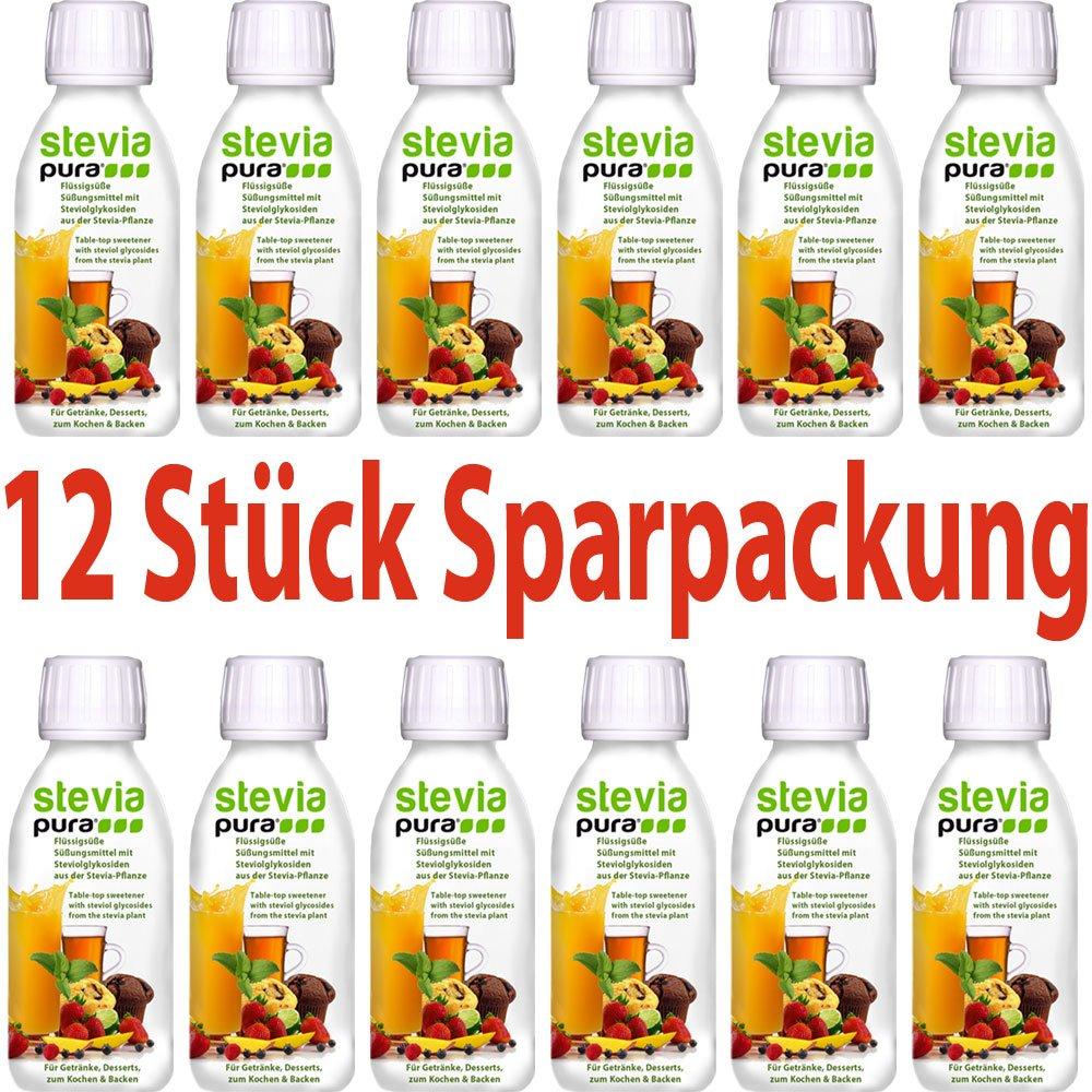 steviapura - Stevia flüssig Tafelsüße 12 x 150ml - OHNE FRUCTOSE ...