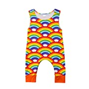 Newborn Infant Baby Boy Girl Jumpsuits Feather Print Leggings Romper Outfits (80(6-12M), Rainbow)