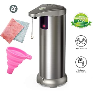 Averest Electric Soap Dispenser, Newest Infrared Automatic Soap Dispenser, Stainless Steel Touchless Auto Hand Soap Dispenser with Waterproof Base for Bathroom Kitchen Hotel Restaurant.