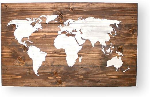 World Map Push Pin Weltkarte Holz Travel Map Wanddekoration
