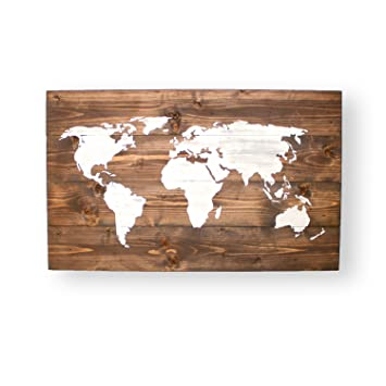 Norma Lily World Map Push Pin Weltkarte Holz Travel Map
