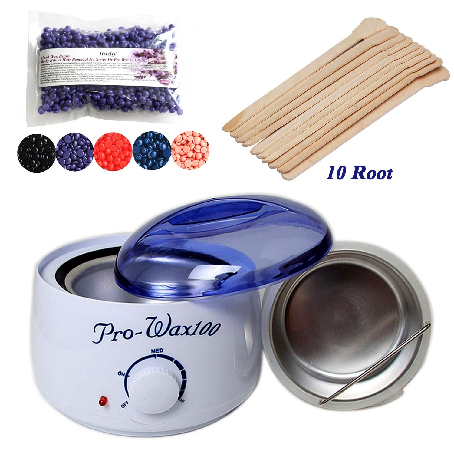 Waxing Kit Electric Wax Warmer with Hard Wax Beans and 10PCs Wax Applicator Sticks, Chamomile,Lavender,Black,Rose,Strawberry (1 Wax Warmer + 10 Wax Applicator Sticks + Lavender Wax Beans) Nolonger