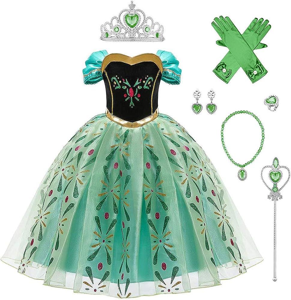OBEEII Disfraz Anna Niña Princesa Reinas de Nieve 2 Cosplay Carnaval Vestido Disfraces de Fiesta Ceremonia Navidad Fancy Dress up Costume para Chicas 2-10 Años
