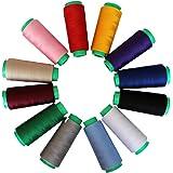 Curtzy - Hilo Poliéster 12 Conos Máquina de Coser Overlocking - Variedad de Coloridas Bobinas de Hilo para Máquina de Coser Mide 16.459 Metros en Total - Ideal para Coser, Hacer Colchas o Bordar