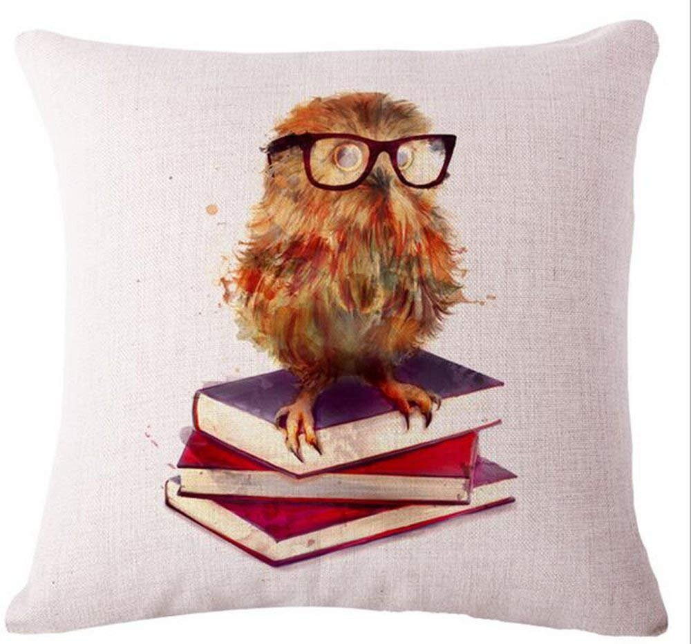Nordic Simple Ink Painting Watercolor Animal Adorable Little Owl Throw Pillow Case Personalized Cushion Cover New Home Office Decorative Square 26x26 Inches