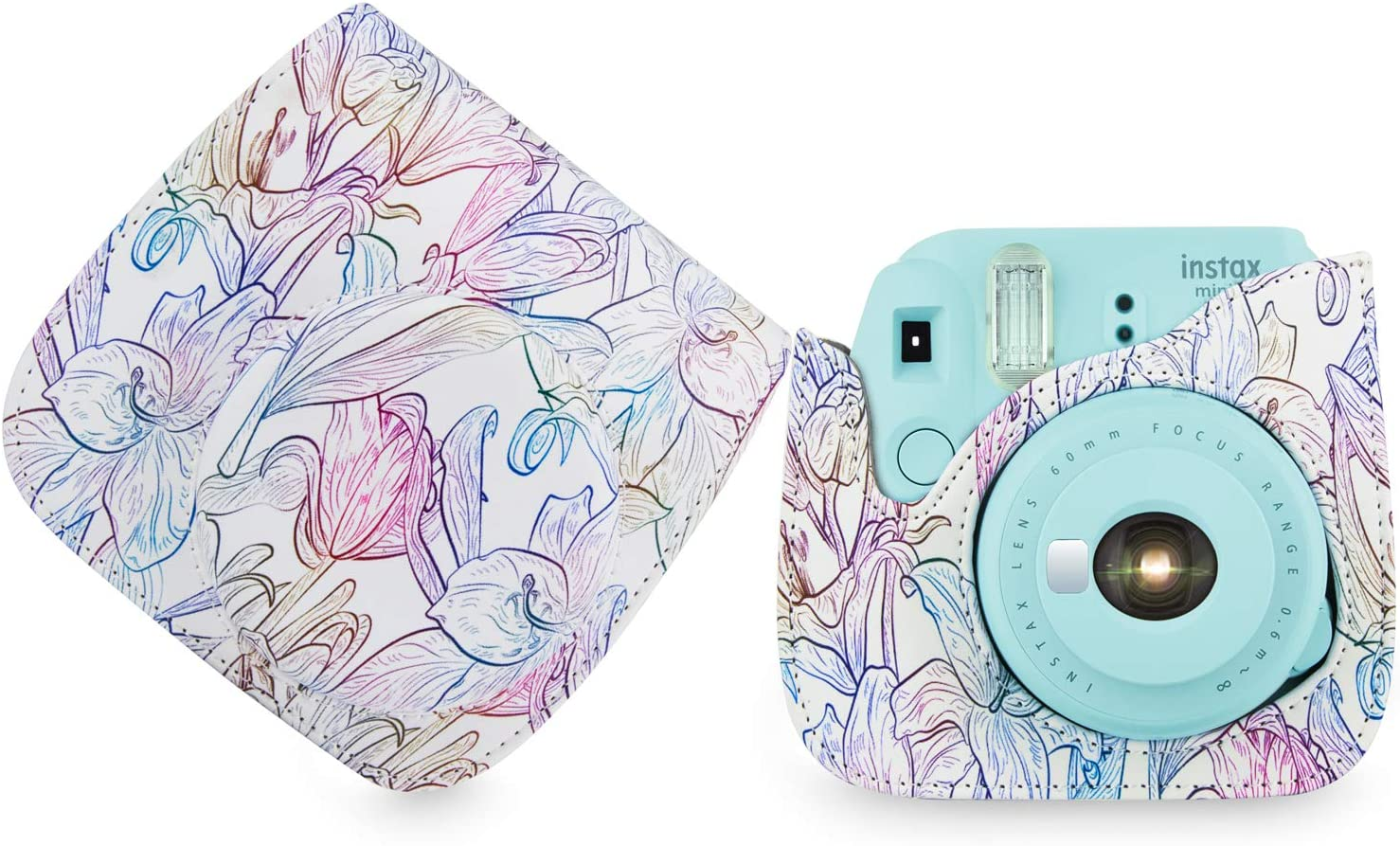 White Flower Elvam Camera Case Bag Compatible for Fujifilm Mini 9 Mini 8 Instant Camera with Detachable Adjustable Strap
