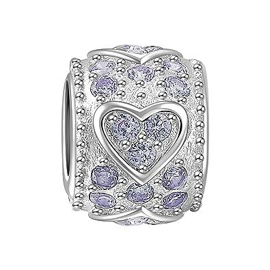 243e3a536 Amazon.com: SOUFEEL Light Purple Swarovski Crystal Heart Charm 925 Sterling  Silver Charms For European Bracelets Women Gifts: Jewelry