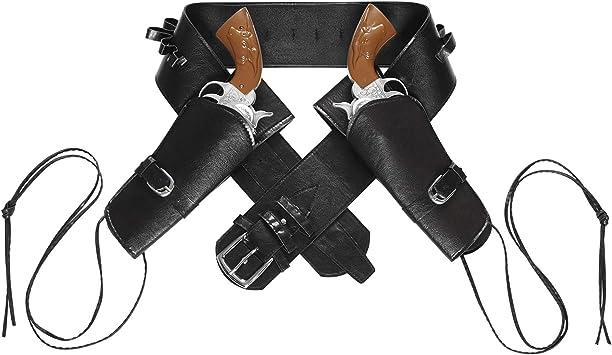 Cinturone da Cowboy Nero in Similpelle con Doppia Fondina Widmann