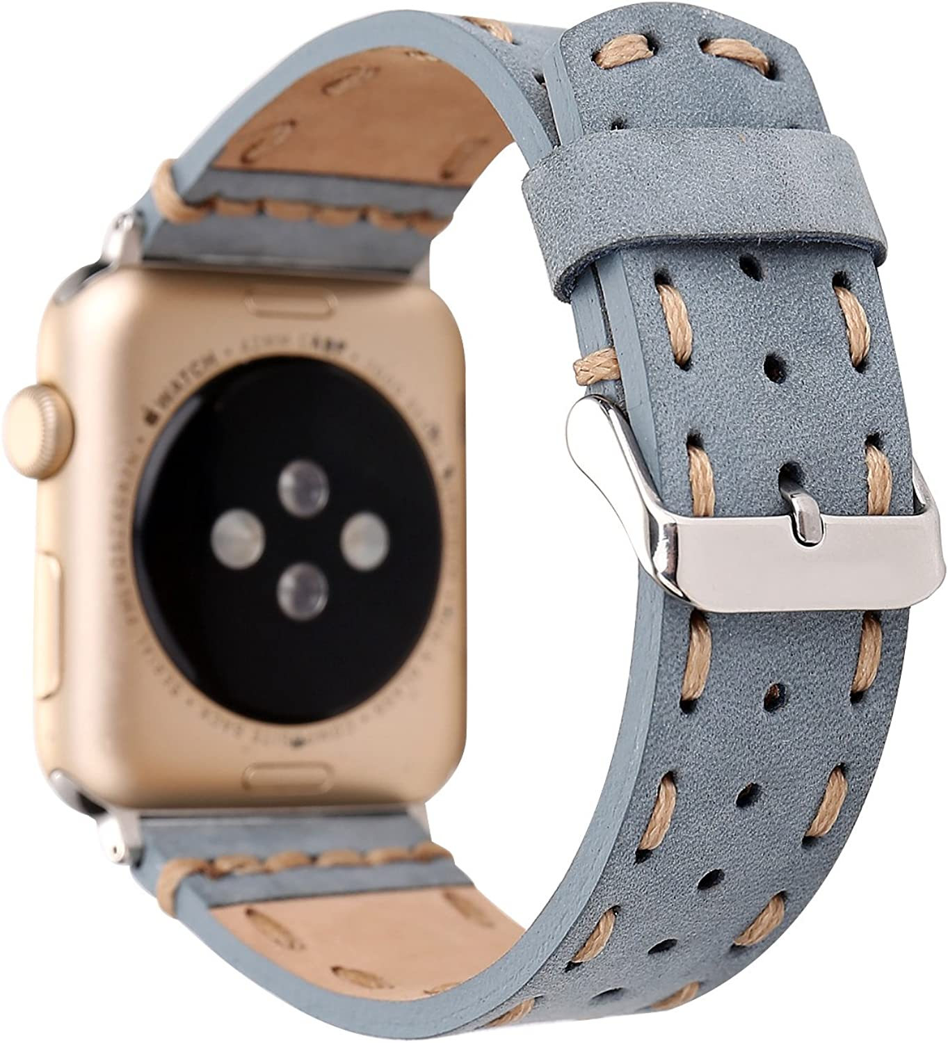 MeShow TCSHOW 40mm/38mm Handmade Vintage Calf Genuine Leather Strap Wrist Band with Secure Metal Clasp Buckle Compatible for Apple Watch Series 6 SE 5 4 3 2 1 (1pcs Light Blue)