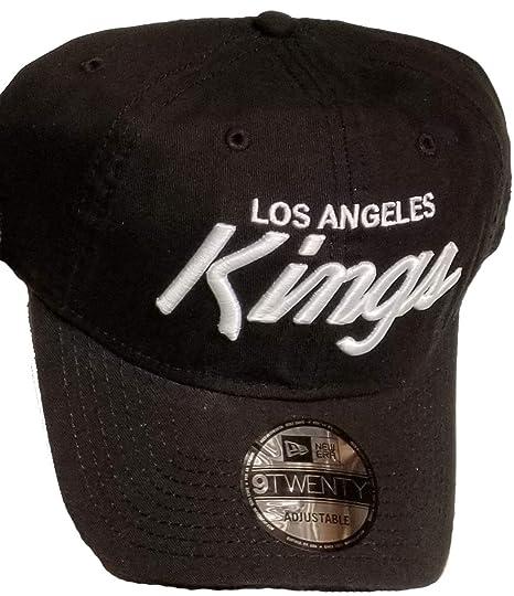 timeless design 59853 1c8d0 Amazon.com  Authentic Exclusive NHL Los Angeles Kings Black Hat White  Script Letters OSFM Men s Strapback Hat 920 9Twenty  Sports   Outdoors