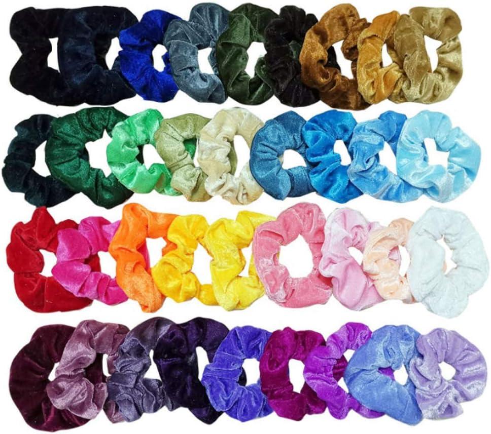 EasyULT 36 Colores Velvet Elástico Hair Scrunchies,Lazos Elásticos De Banda Pelo Stretchy Multicolor De Terciopelo Accesorios para Arrancar El Cuello De Cola De Caballo para Las Mujeres Niñas: Amazon.es: Belleza