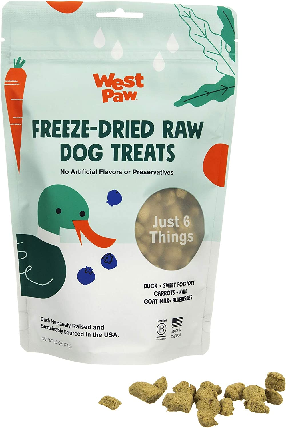 West Paw Freeze-Dried Raw All Natural Dog Treats, Humanely Raised and Sustainably Sourced, Made in USA