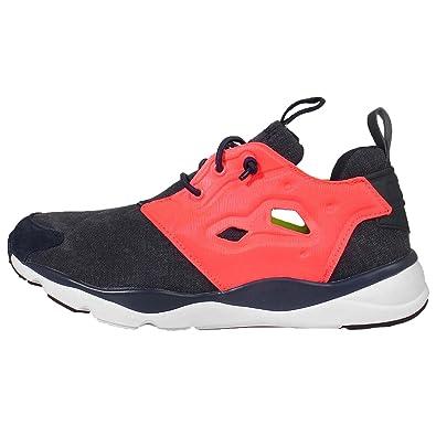 Reebok Furylite Asymmetrical, Chaussures de Running Entrainement Femme, Azul/Amarillo/Rosa (Collegiate Navy/Solar Yellow/Punch Pink), 38 EU