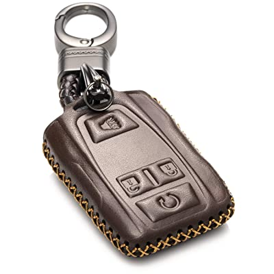 Vitodeco Genuine Leather Smart Key Keyless Remote Entry Fob Case Cover with Key Chain for 2020 GMC Sierra, Canyon, 2020 Chevy Silverado 1500, Tahoe, Colorado, Suburban (4-Button, Brown): Automotive