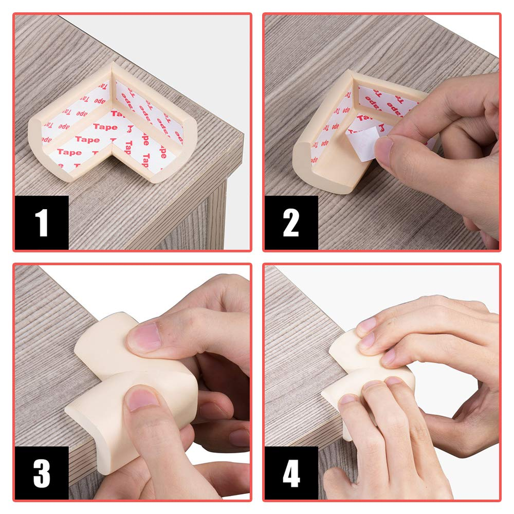 YOFASEN Baby Safety Corner Protectors Guards White Child Soft Thick Baby Safety Products Table Corner Furniture Protection 12 pcs