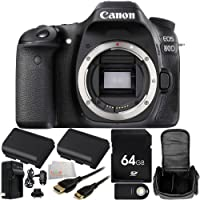 Canon EOS 80D DSLR Camera (Body Only) 64GB Bundle 10PC Accessory Kit. Includes 64GB Memory Card + 2 Replacement LP-E6 Batteries + AC/DC Rapid Home & Travel Charger + Wireless Remote + Mini HDMI Cable + Carrying Case + Microfiber Cleaning Cloth