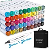Shuttle Art 51 Colors Dual Tip Alcohol Based Art Markers, 50 Colors plus 1 Blender Permanent Marker Pens Highlighters with Ca