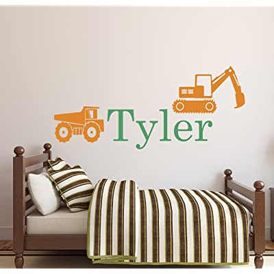 Personalized Truck Name Wall Decal - Boys Name Wall Decal - Construction Wall Decals - Kids Room Decor Vinyl (34Wx16H): Baby