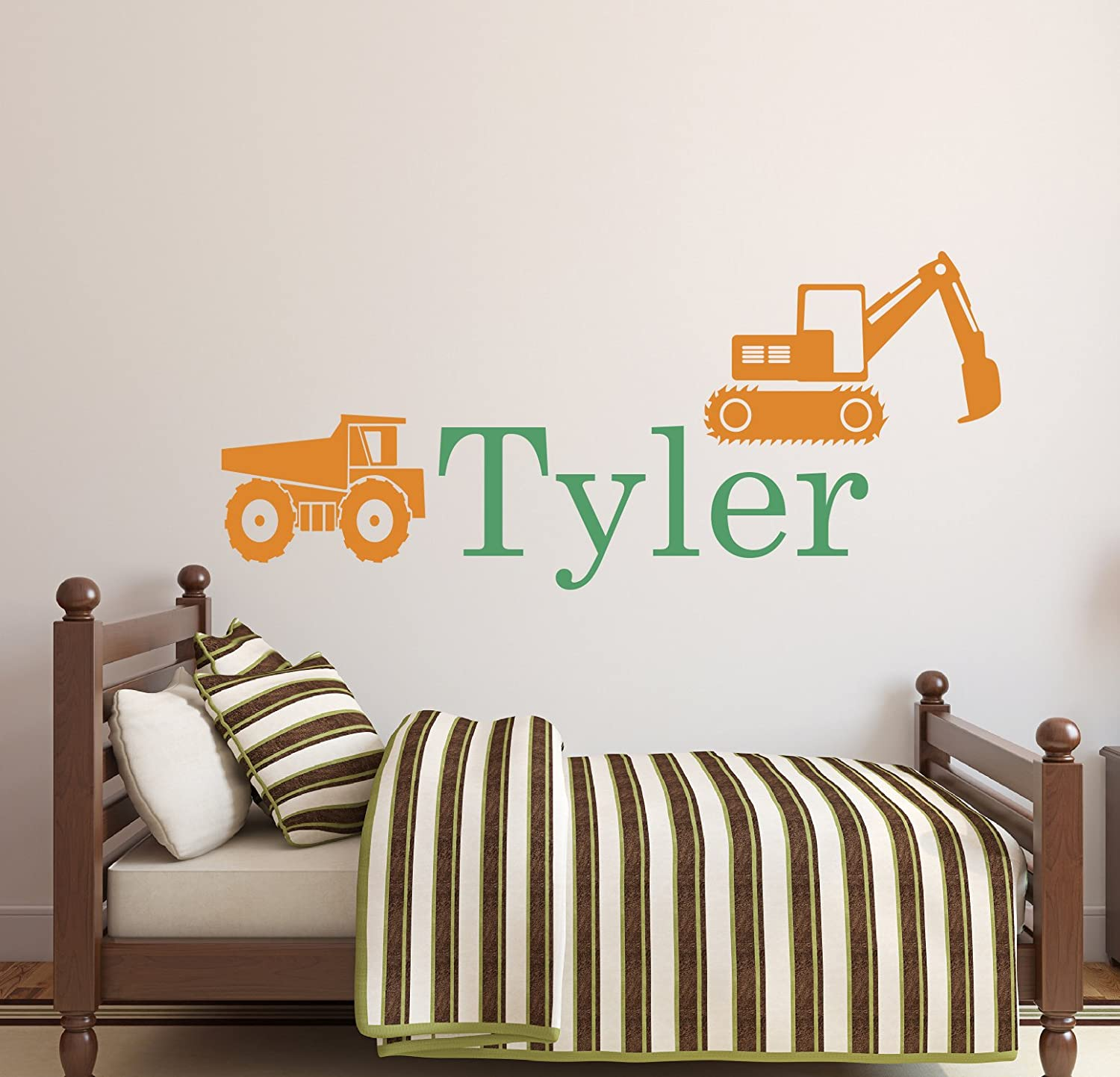 Amazon.com : Personalized Truck Name Wall Decal   Boys Name Wall Decal    Construction Wall Decals   Kids Room Decor Vinyl (34Wx16H) : Baby